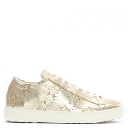 Gold Leather Star Motif Trainer