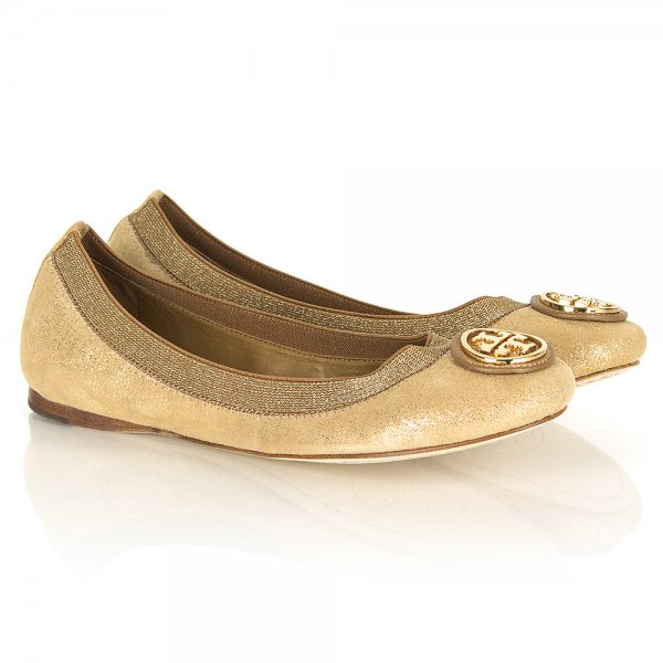 b02f9521c09f Tory Burch Gold Metallic Caroline Ballet Flat Women s Shoe