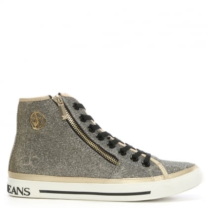 Gold Metallic High Top Trainer