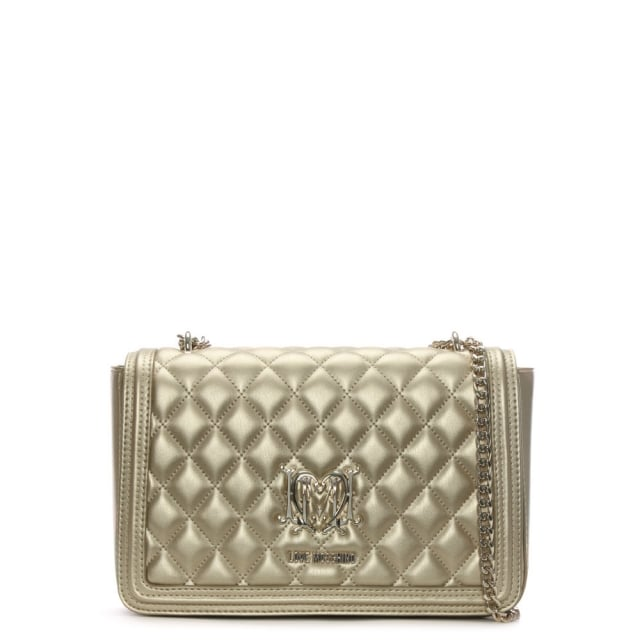 Love Moschino Gold Metallic Quilted Shoulder Bag