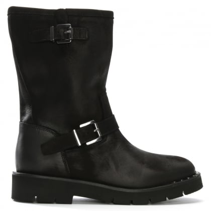 Goldeye Black Leather Pull On Biker Boots