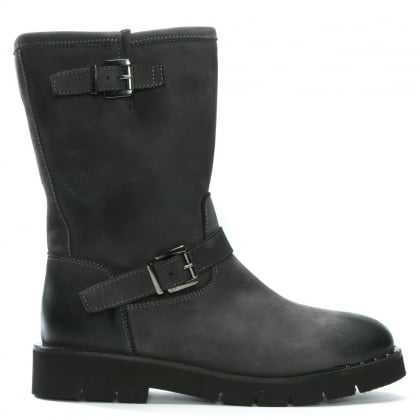 Goldeye Grey Leather Pull On Biker Boots
