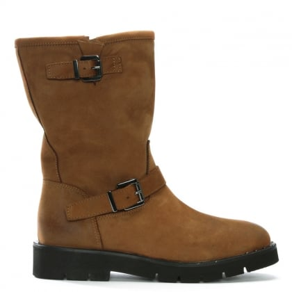 Goldeye Tan Leather Pull On Biker Boots