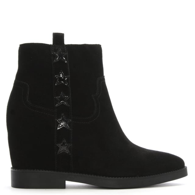 Goldie Black Suede Concealed Wedge Ankle Boots