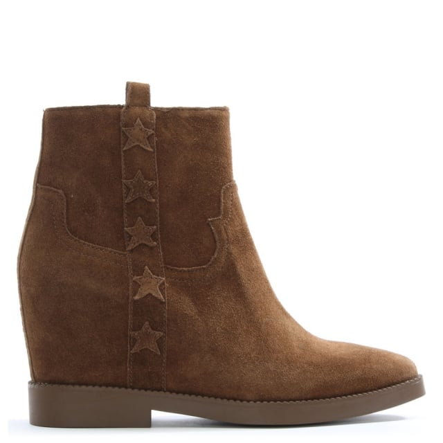 Goldie Tan Suede Concealed Wedge Ankle Boots