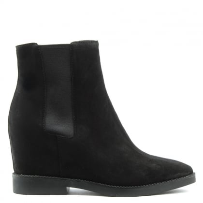 Gong Black Suede Low Wedge Ankle Boots
