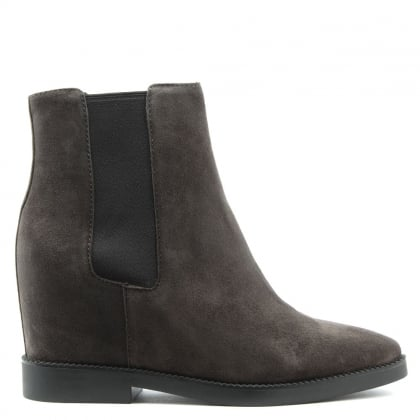 Gong Grey Suede Low Wedge Ankle Boots