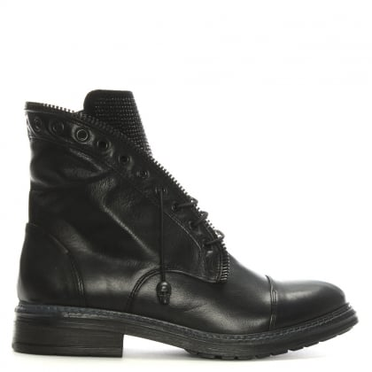 Goodness Black Leather Diamante Detail Biker Boot