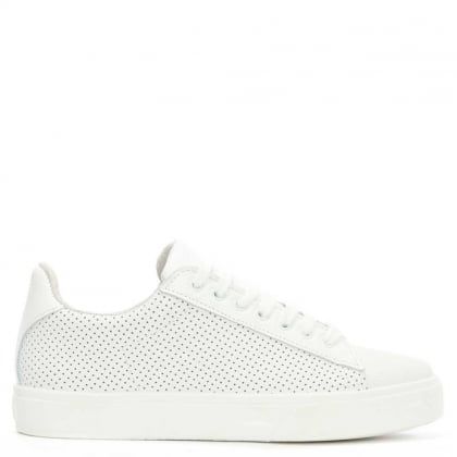 Gotska White Leather Perforated Lace Up Trainer