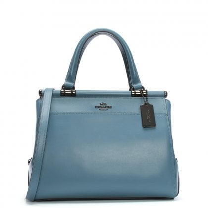 Grace Dark Chambray Leather Satchel Bag