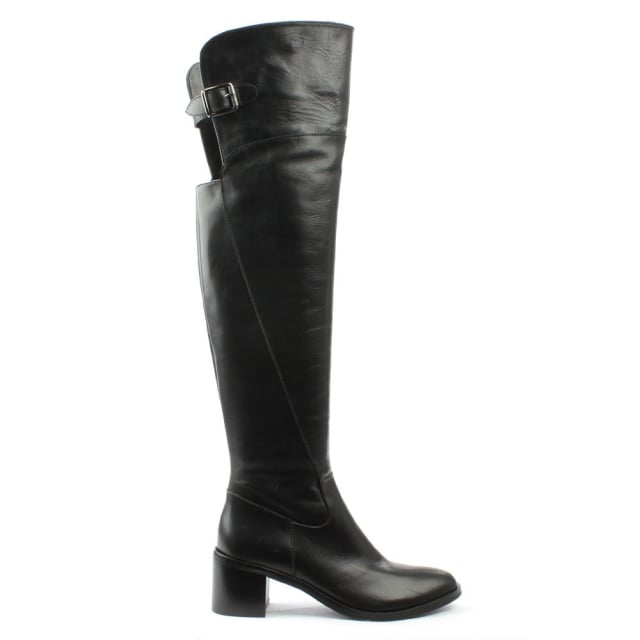 Gracelyn Black Leather Over The Knee Boot
