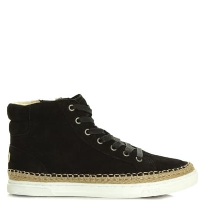 UGG Gradie Black Nubuck Lace Up High Top Trainer