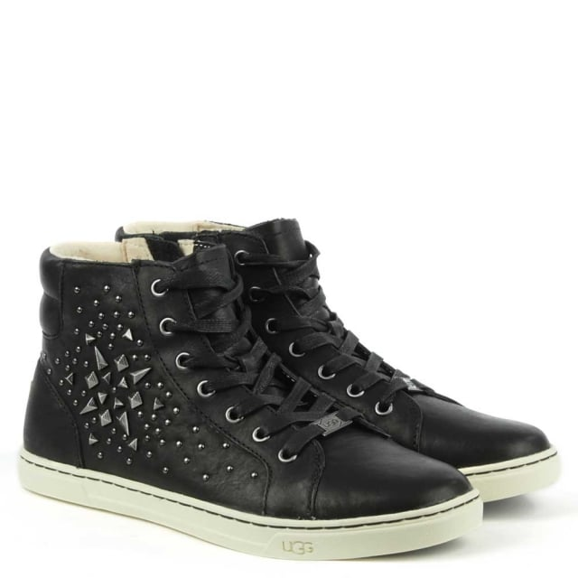 Gradie Studded Black Leather High Top Trainer