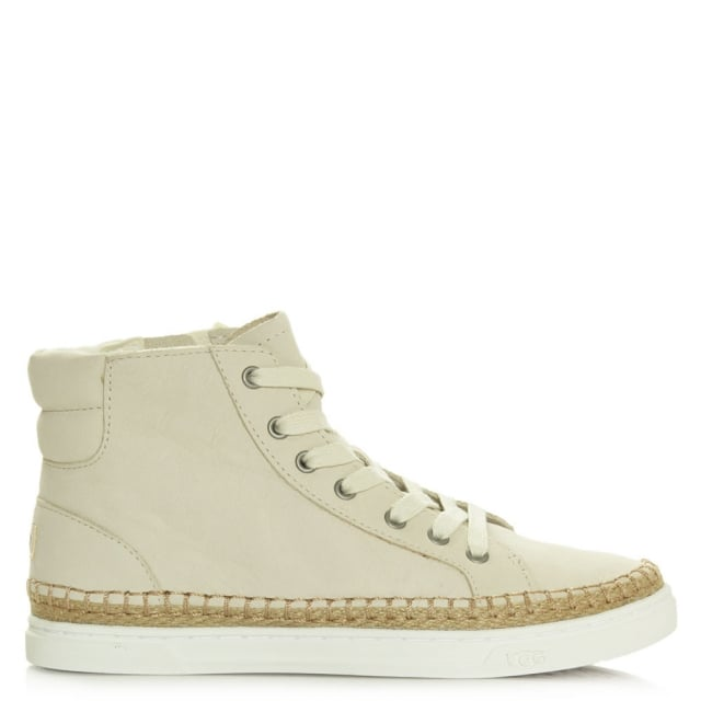 Gradie White Nubuck Lace Up High Top Trainer