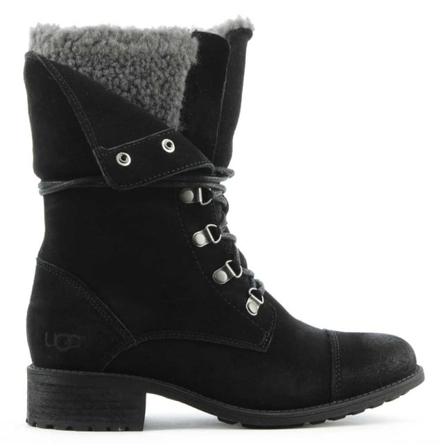 1f5632d7ad7 Gradin Black Leather Cuffed Lace Up Ankle Boot