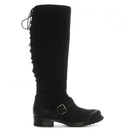 Granda Black Leather Lace Back Knee Boots