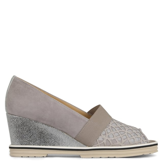 Grassant Grey Suede Mesh Laser Cut Wedge Shoes