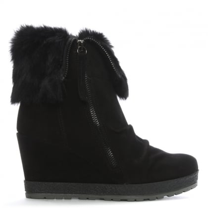 Grateful Black Suede Fur Cuff Wedge Ankle Boot
