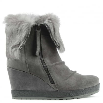 Grateful Grey Suede Fur Cuff Wedge Ankle Boot