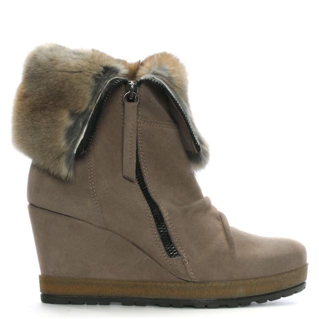Grateful Taupe Suede Fur Cuff Wedge Ankle Boot