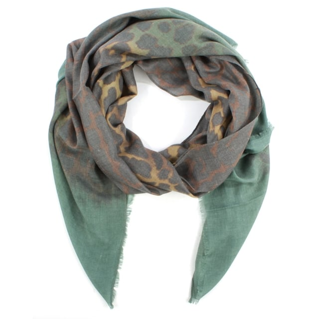 Green Leopard Print Cotton Mix Scarf