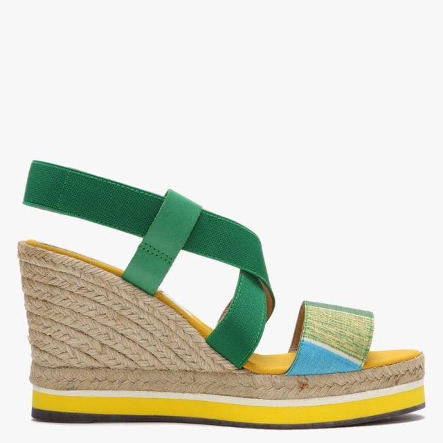 2db589dfd62 Green Multicoloured Cross Strap Espadrille Wedge Sandals