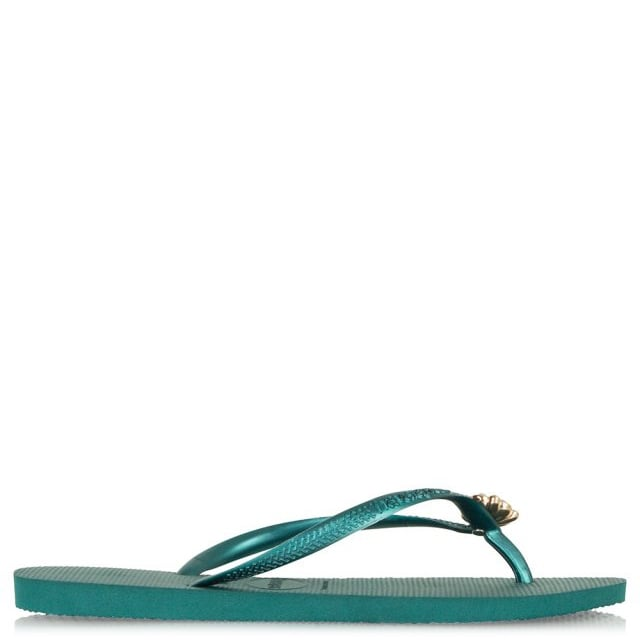 Green Slim Crystal Poem Women's Flip Flop