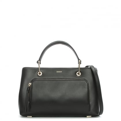 Greenwich Small Black Leather Satchel Bag