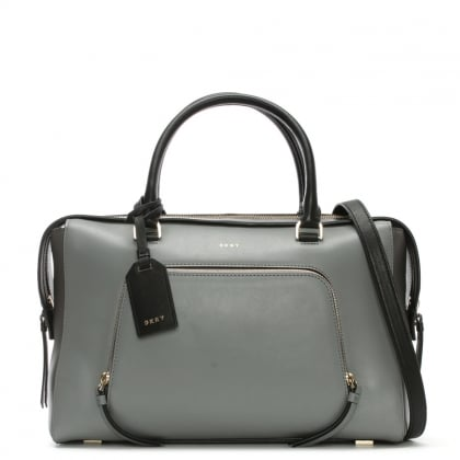 Greenwich Smooth Large Grey Leather Satchel Bag