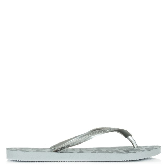 Grey Animal Printed Womens Flip Flop