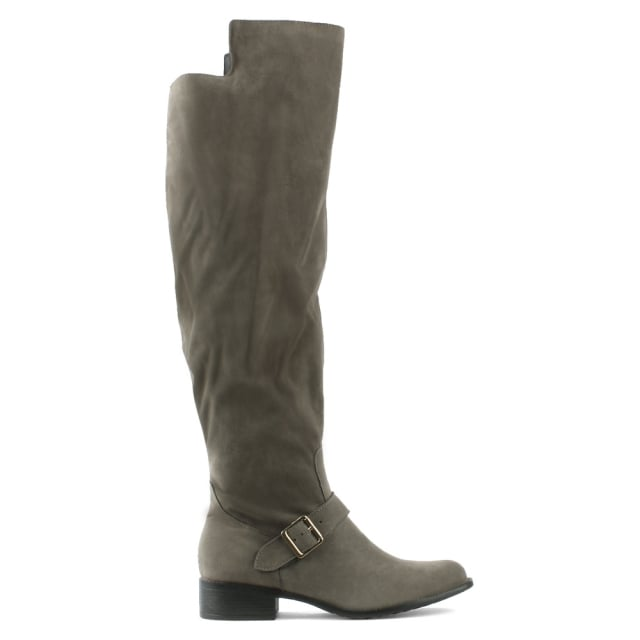 Grey Ankle Strap Knee Boot