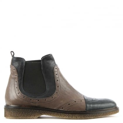 Grey & Black Leather Contrast Brogue Chelsea Boot