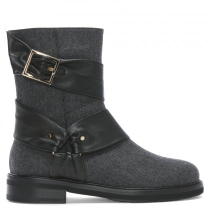 Grey Buckled Wool Biker Boots