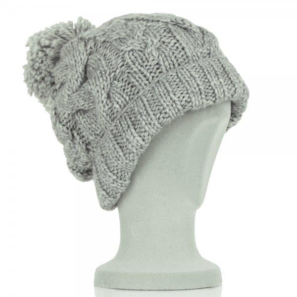 Boss Orange Grey Cable Knit Fosane Women s Bobble Hat a822f06821a