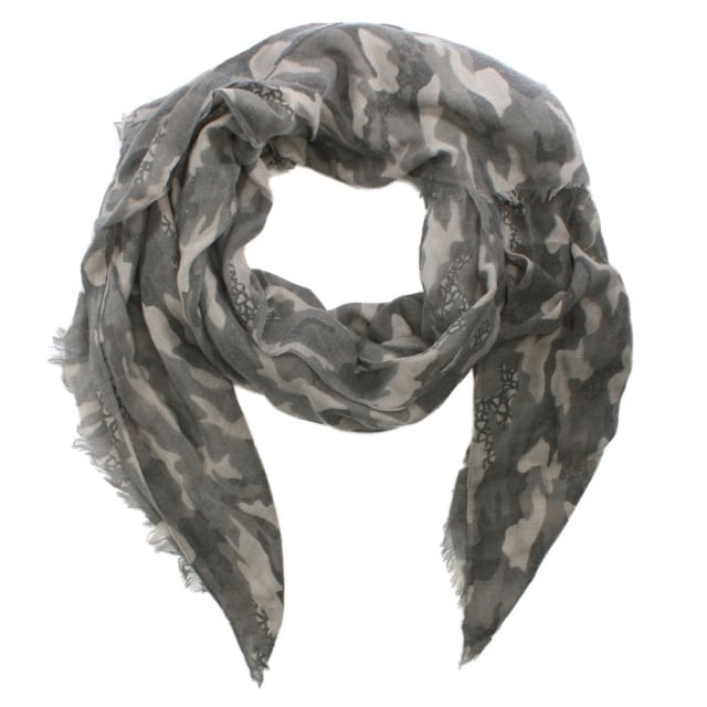 Grey Cotton Mix Camo Print Scarf