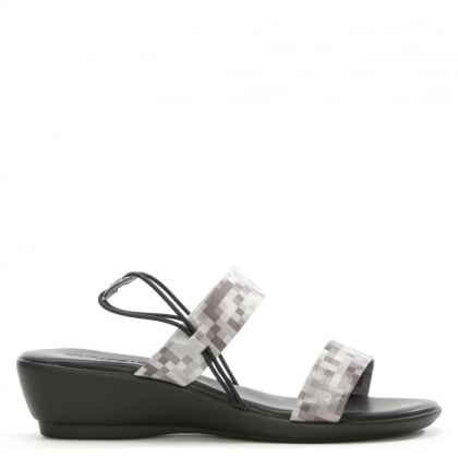 Grey Digital Print Low Wedge Sandal