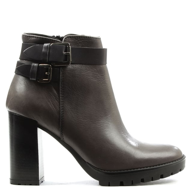 Grey Leather Buckled Ankle Boot