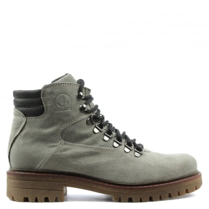 Grey Leather Lace Up Walking Boot