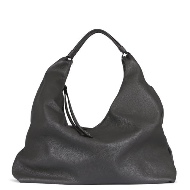 Abro Grey Leather Pebbled Shoulder Bag