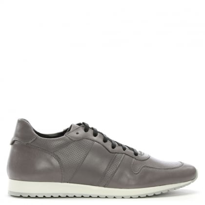 Grey Leather Perforated Trainers