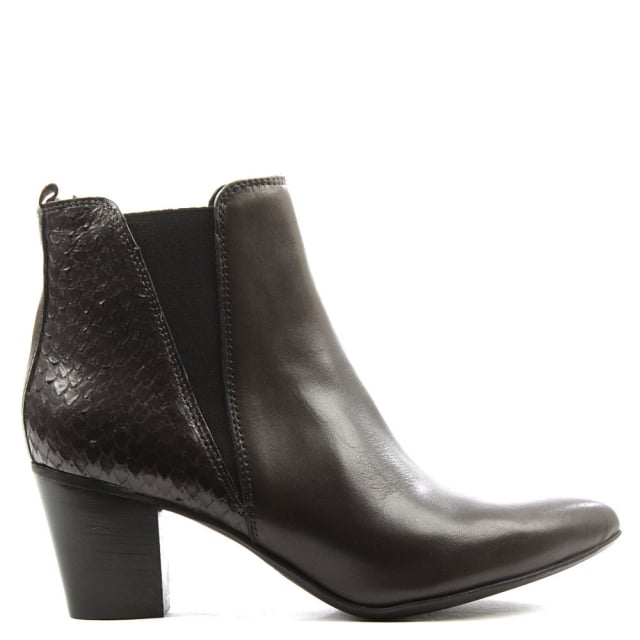 Grey Leather Reptile Back Chelsea Boot