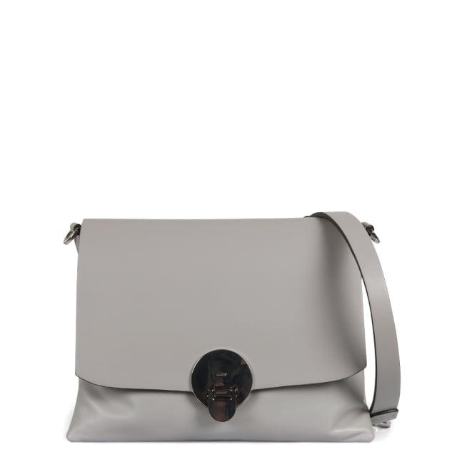 Abro Grey Leather Shoulder Bag