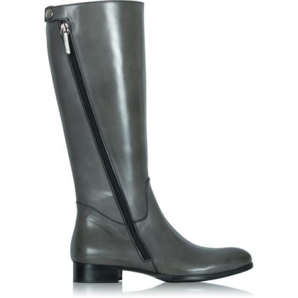 Grey Leather Zipper Detail Knee Boot