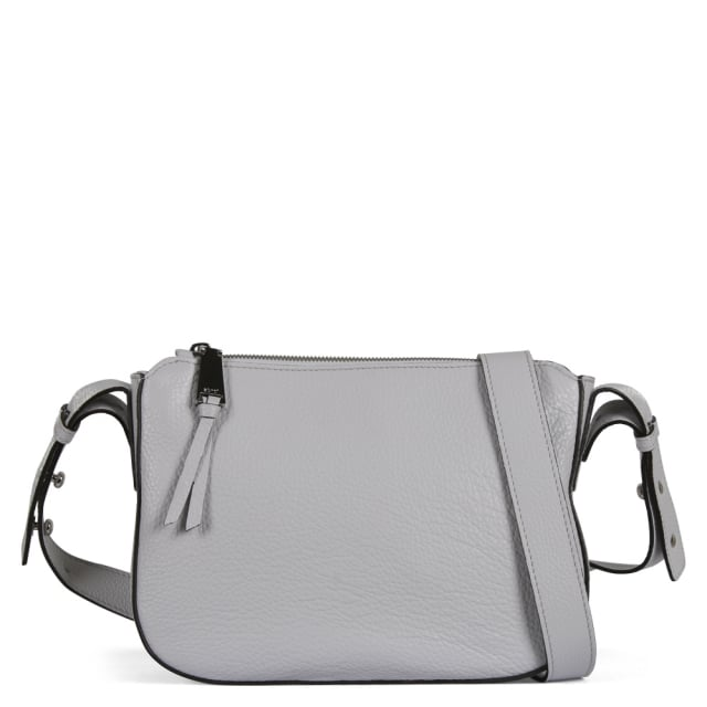 Abro Grey Pebbled Leather Cross-Body Bag