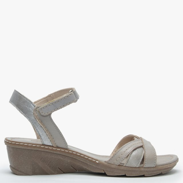 39db9b9470047 Khrio Grey & Silver Leather Strappy Low Wedge Sandals
