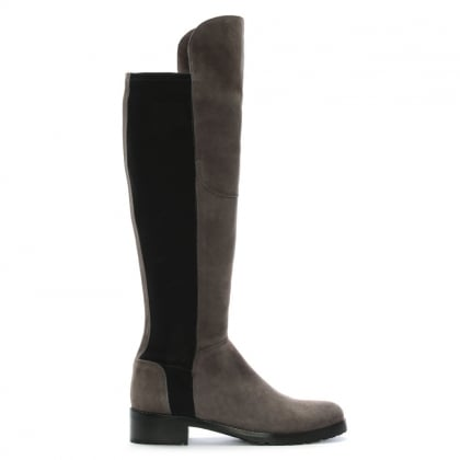 Grey Suede 41 24160 Women's Flat Knee Boot