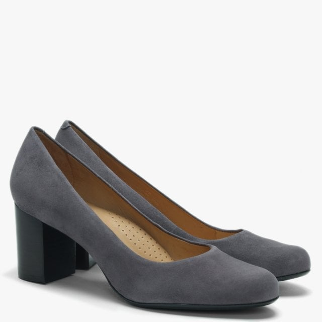 f117db881fc Maria Lyn Grey Suede Block Heel Court Shoes