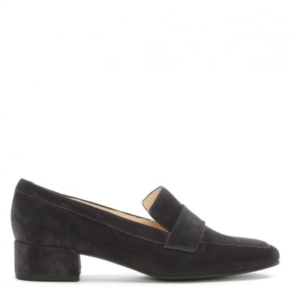 Grey Suede Block Heel Loafers