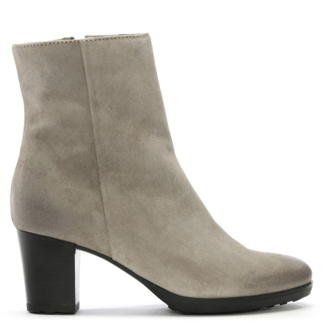 Manas Grey Suede Distressed Ankle Boots