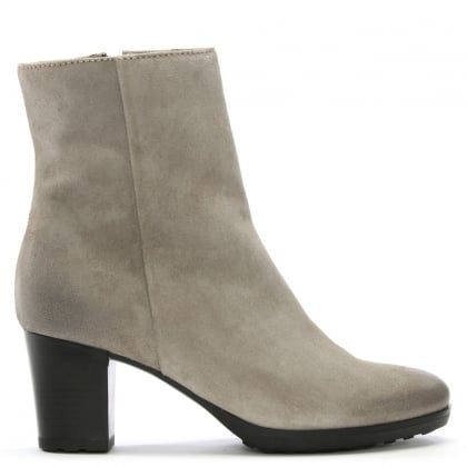 Grey Suede Distressed Ankle Boots